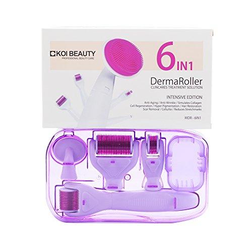 Dermaroller Koi Beauty 6 in 1 Professionelles Derma Roller Kit für Gesichtspflege mit Microneedling, aus Edelstahl Micronadeln für Anti Falten, Schwangerschaftsstreifen, Haarausfall