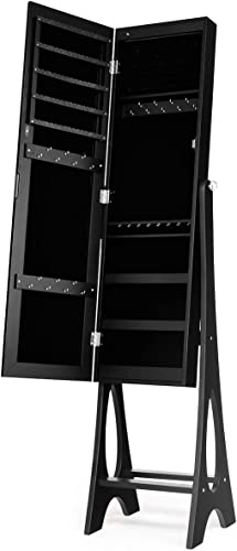 new arrival Giantex 12 LED Jewelry Armoire Cabinet with Frameless Full-length Mirror, Standing Jewelry Cabinet with 16 Lipstick sale Holders, Large Storage Capacity, 3 outlet sale Angles Adjustable (Black) outlet sale