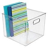 mDesign Caja organizadora para despacho – Organizador para Oficina para Armario o cajón – Contenedores de plástico con Asas para Guardar Sobres, bolígrafos y más – Transparente