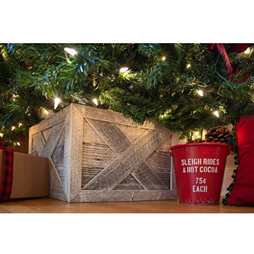 BarnwoodUSA   Deluxe Wooden Tree Box Collar   White Wash   Farmhouse Tree Box   Christmas Tree Skirt   Rustic   Decorations   Vintage   100% Reclaimed & Recycled Wood   4 Sides