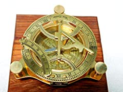 "4"" Solid brass sundial compass, shiny brass finish. Fully functional sundial compass, correct show the north. The sundial compass comes along the rosewood box. size -4""/4""/1.5"", Box size- 5""/5""/2"""