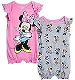 Disney Baby Girls Romper 2 Pack: Minnie Mouse Ruffle Sleeve Romper (Newborn/Infant), Size 6-9 Months, Pink Minnie/Grey Multi Minnie