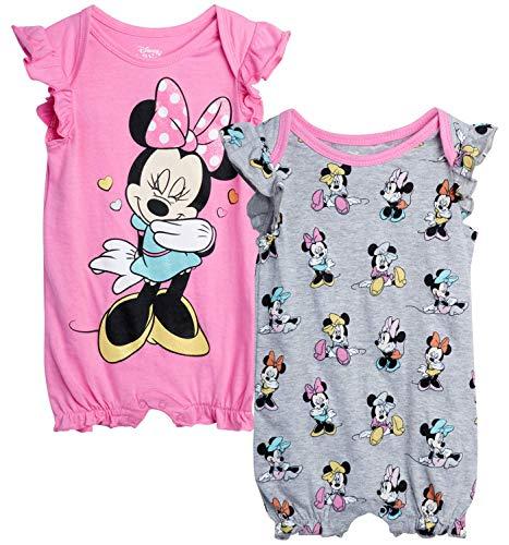 Disney Baby Girls Romper 2 Pack: Minnie Mouse Ruffle Sleeve Romper (Newborn/Infant), Size 12 Months, Pink Minnie/Grey Multi Minnie