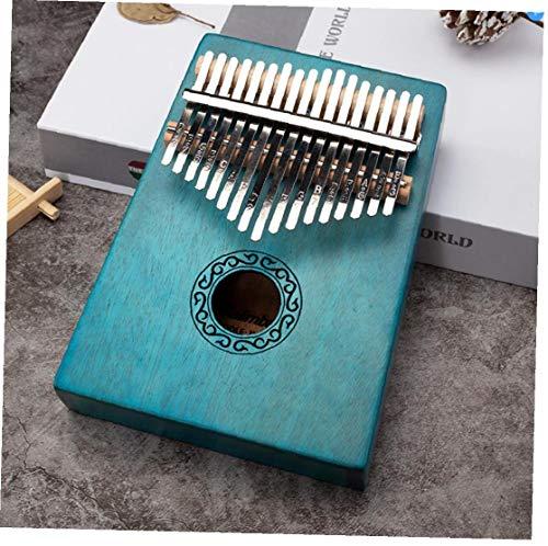 17 Keys Kalimba Daumen-Finger-Piano Mini DIY Musikinstrumente Massivholz Körper Tune Hammer Blau (einschließlich 1 Hammer, 1 Stoffbeutel, 2 Daumenschützer, 2 Aufkleber, 1 Chinesisch und Englisch Buch)