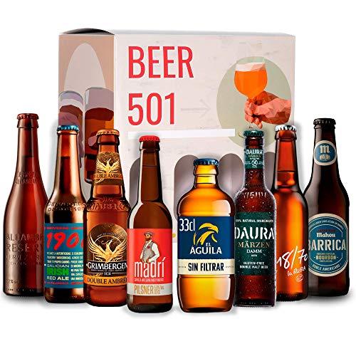 Pack de Cervezas BEER 501 :Estrella 1906, Madrí, Aguila, Alhambra Roja, Mahou Barrica Bourbon, Daura, 18/70, Grimbergen I Ideas para regalar I Cervezas para degustación.