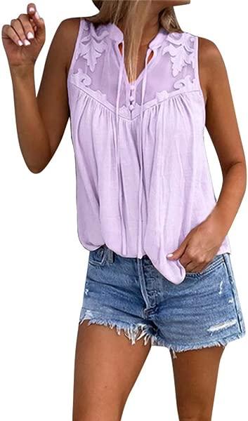 TOTOD Chiffon Tops Womens Fahsion Stitching Lace V Neck Sleeveless Shirt Blouse