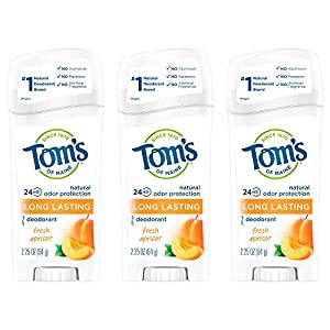 WHAT YOU'LL GET: Contains three 2.25-ounce sticks of Tom's of Maine Natural Deodorant for Women in Fresh Apricot Scent 24-HOUR ODOR PROTECTION: Feel fresh all day with a blend of natural deodorant ingredients ALUMINUM-FREE: Start your day with 0% alu...