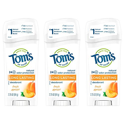 Tom's of Maine Long-Lasting Aluminum-Free Natural Deodorant for Women, Fresh Apricot, 2.25 oz 3-Pack