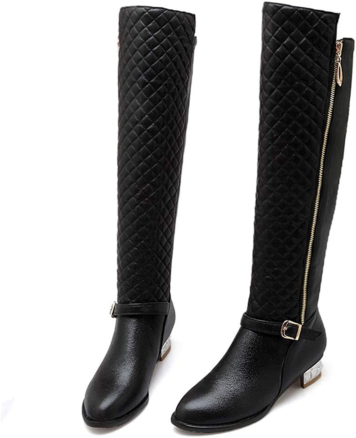 Hoxekle Winter Women Boots Fashion Round Toe Silver Low Heel shoes Solid PU Buckle Zipper Over-The-Knee Boots