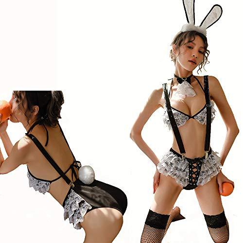 HJG Set di Biancheria per Costume Cosplay di coniglietta Sexy con Pantaloni da Cintura, Vestito Operato da Festa di Ruolo di Holloween