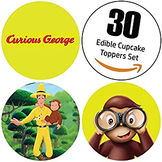 30 Piece Edible Curious George Cupcake Toppers: 1.4 Inch Uncut Colorful Eatable Round Printed Sticker Decals Wafer Sheets, Cake Decorating