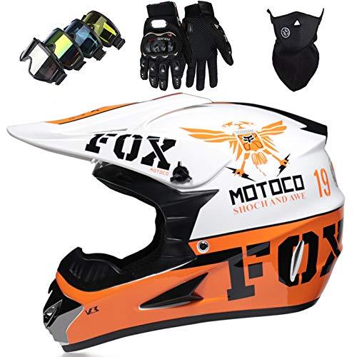 Casco Motocross Niño, Cascos Integrales set con Guantes/Gafas/Máscara, DTC & ECE Certificación,...