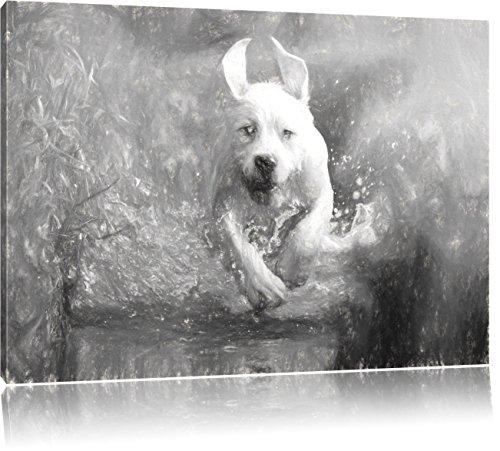 Pixxprint Labrador-Welpe Wasser als Leinwandbild/Größe: 80x60 / Wandbild/Kunstdruck/fertig bespannt