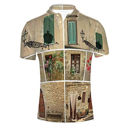 Soefipok Die Toskana-Straßen-Zypressen von Erwachsenen für das mittelalterliche Bauernhaus-Poloshirt