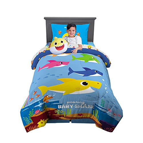 Franco Kids Bedding Super Soft Comforter with Sheets and Cuddle Pillow Bedroom Set, 5 Piece Twin Size, Baby Shark