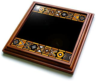 3dRose trv_76556_1 Brown and Black African Pattern-Art of Africa Inspired by Zulu Beadwork Geometric designs-Trivet with Ceramic Tile, 8