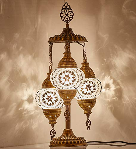 DEMMEX 2019 Stunning 3 Globe Turkish Moroccan Bohemian Table Desk Bedside Night Lamp Light Lampshade with North American Plug & Socket, 19 Inches (White - Black)