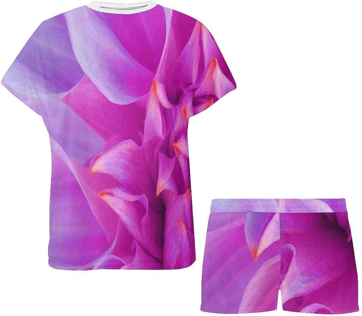 InterestPrint Bright Pink Dahlia Flower Women's Breathable 2 Piece Shorts Pajama Sleepwear Set