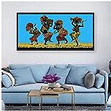 Carteles e impresiones de siluetas de baile de hombres y mujeres africanos Danza de los papúes arte de pared lienzo pintura cuadros decoración para sala de estar