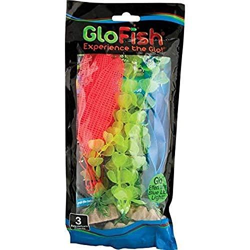 GloFish Fluorescent Plant Multipack 3 Count, Contains Medium Yellow, Large Orange, Large Blue Aquarium Plants