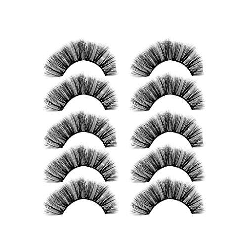 IYU_Dsgirh 6D faux cils, luxe 5Pair 6D faux cils cils duveteux bande longue partie naturelle cils (B)