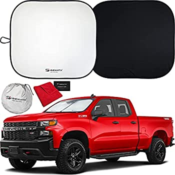 SHINEMATIX 2-Piece Windshield Sunshade - Foldable Car Front Window Sun Shades For Most Sedans SUV Truck - Best 210T Reflective Material Blocks 99% UV Rays and Keeps Your Vehicle Cool  Standard/Medium
