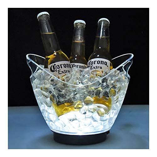 YNuo Nueva Transparente a la luz Cubo de Hielo Material acrílico 2 litros LED de Colores Champagne Cerveza del Barril de Vino 5 Color Opcional (Color : White)