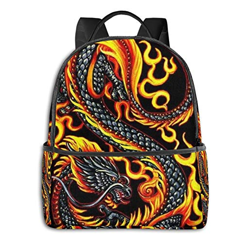 Burning Flaming Fire Chinese Dragon Black Multi-Faceted Printing Computer Backpack Multifunctional Backpack, Can Go to School and Work