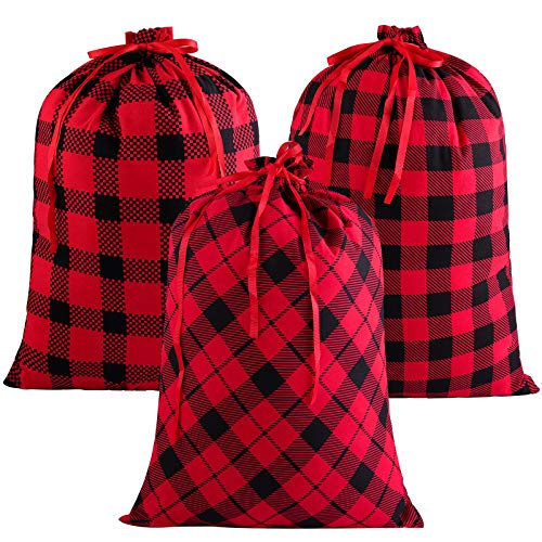 Aneco 3 Pack Christmas Cotton Red and Black Plaid Xmas Bags 23 by 17.5 Inches Large Size Drawstring Bag Stocking Storage Sack Present Party Favors Bags