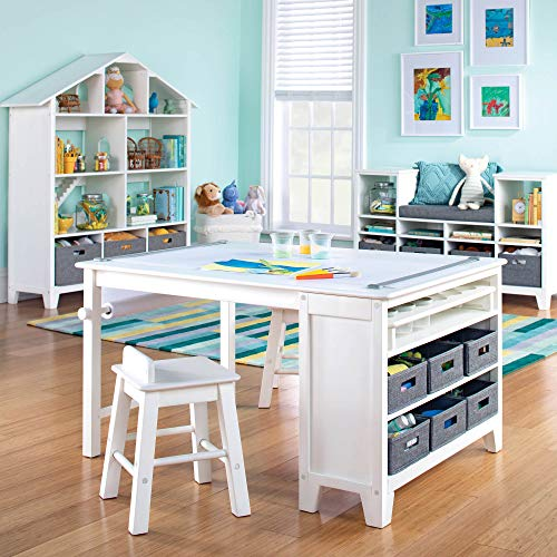 MARTHA STEWART Living and Learning Kids' Art Table and Stool Set (White) - Wooden Drawing and Painting Desk with Paper Roller, Paint Cups and Removable Craft Supplies Storage Bins