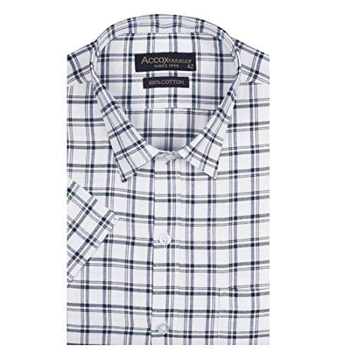 ACCOX Men's Half Sleeves Formal Regular Fit Cotton Check Shirt(Multi,GO547)