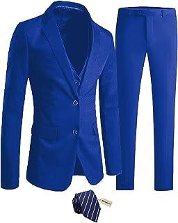 Furuyal Men's Suit Slim Fit 3-Piece Suit Blazer Dress Business Wedding Party Jacket Vest & Pants with Tie