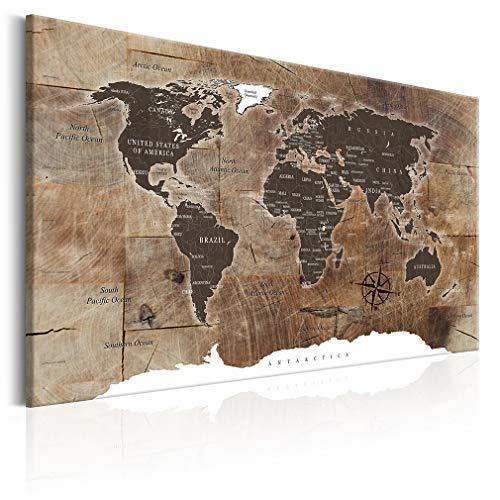 decomonkey Bilder Weltkarte 120x80 cm XXL 1 Teilig Leinwandbilder Bild auf Leinwand Wandbild Kunstdruck Wanddeko Wand Wohnzimmer Wanddekoration Deko Holz Welt Karte Landkarte Kontinente
