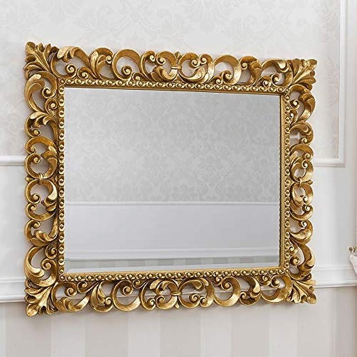 Specchiera zaafira stile barocco cornice traforata foglia oro cm 94 x 74 simone guarracino luxury design SI550009GLG
