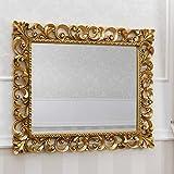 SIMONE GUARRACINO LUXURY DESIGN Specchiera Zaafira Stile Barocco Cornice Traforata Foglia Oro Specchio molato cm 94 x 74