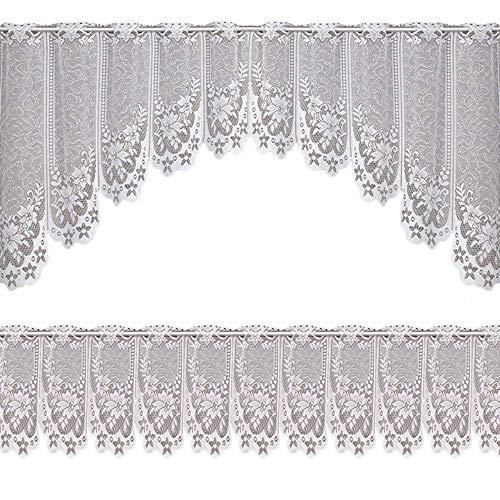 U/K Cortinas decorativas con volantes de encaje y flores de ganchillo, juego de cortinas cortas, de alta calidad
