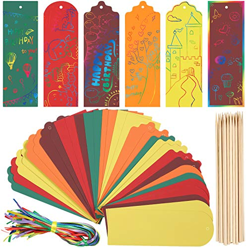 100 Pieces Scratch Bookmarks Art 4 Styles Rainbow Scratch Paper Bookmarks Craft for Girls and Boys DIY Tags with Satin Ribbons, Bamboo Stylus for Student Party, Arts and Craft Activity (5 Colors)