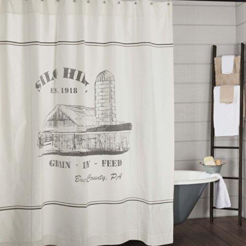 Silo Hill Duschvorhang, 183 x 183 cm, Landhaus-Stil, Badezimmer-Dekor, bedrucktes weißes Segeltuch