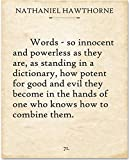 Nathaniel Hawthorne - Words - 11x14 Unframed Typography Book Page Print - Makes a Great Gift for Writers and Poets Under $15 for Book Lovers