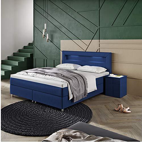 INNOCENT - P5 LED | Cama con somier de 200 x 200 en azul marino tela C19 | 2 capas de viscoelástica 6 cm | Colchón de muelles Bonell | Dureza H3 | camas con somier | HB03
