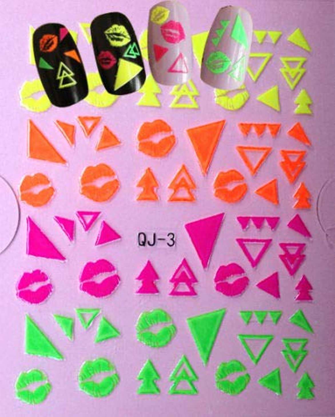 Nail Art 3D Decal Stickers Neon Lips Triangles Shapes Kisses
