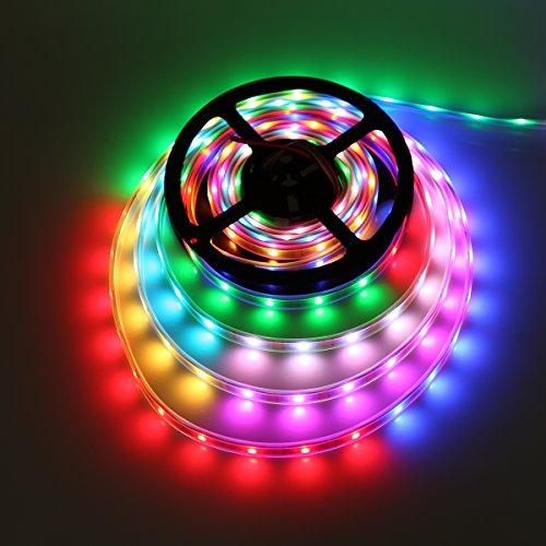 Visdoll 5M WS2813 (Upgraded WS2812B) Individually Addressable Digital Strip Lights (Dual Signal Wires), Waterproof Dream Color 150 Leds 5050 RGB Flexible LED Ribbon Light DC 5V (Black PCB)