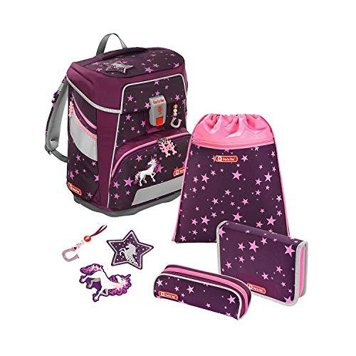 """Step by Step Schulranzen-Set Space """"Unicorn"""" 5-teilig, Beere, Einhorn-Design, ergonomischer Tornister mit Reflektoren, höhenverstellbar mit Hüftgurt für Mädchen 1. Klasse, 20L"""