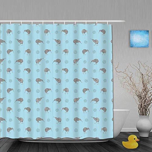 N\A Duschvorhang, grau-Blaue Kiwi-Vögel Indigene neuseeländische Tiere Doodle-Stil Tropische Wildtiere, Stoff Stoff Badezimmer Dekor Set mit Kunststoffhaken