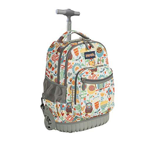 Schulranzen mit Rollen für Mädchen Jungen Kinder,ZOVOTA Schultrolley Schultaschen Schulrucksack Trolley Kinderrucksack 1. Klasse bis 12.Klasse 18 Zoll 20L Käuzchen