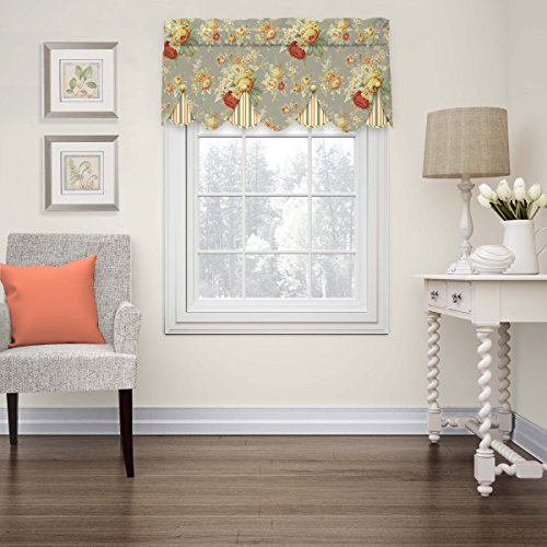"""WAVERLY Sanctuary Rose 52"""" x 18"""" Short Valance Small Window Curtains Bathroom, Living Room and Kitchens, Clay"""