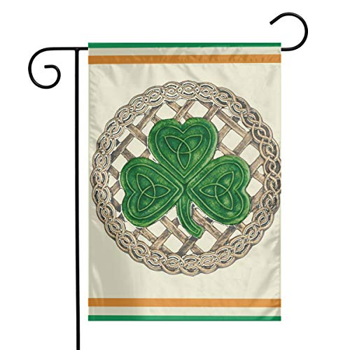 JTLCBC Shamrock Lattice and Celtic Knots On Black Home Garden Flag Decorative Design 12 X 18 Inch