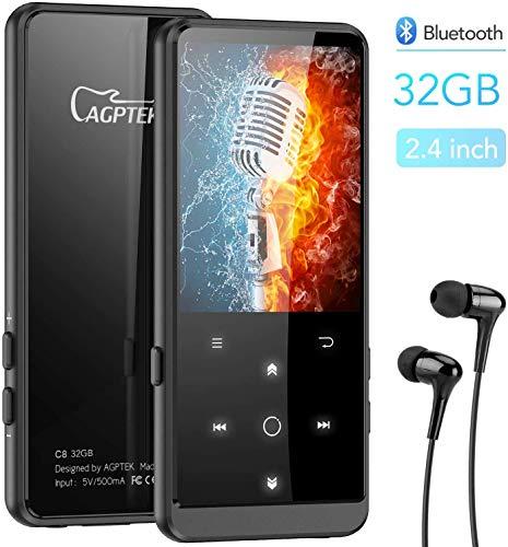 MP3 Player, 32GB Bluetooth MP3 Player mit Kopfhörer, 2.4 Zoll TFT Bildschirm, FM, FM-Record,Schrittzähler, HiFi,Zufallswiedergabe, Schwarz