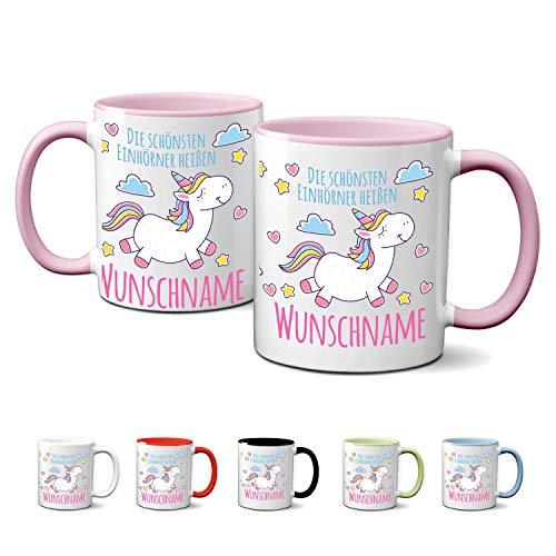 Partycards Personalisierte Tassen als Geschenkidee mit verschiedenen Motiven - Kaffebecher (Die schönsten Einhörner heißen …, 330ml)