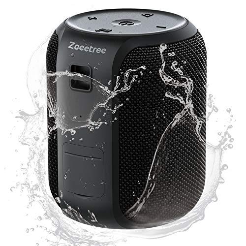 Cassa Altoparlante Bluetooth Portatile impermeabile IPX7,ZoeeTree S12 Mini Speaker Bluetooth Stereo TWS 360°,con Microfono,fino a 28h di Autonomia, AUX,TF,USB,Nero